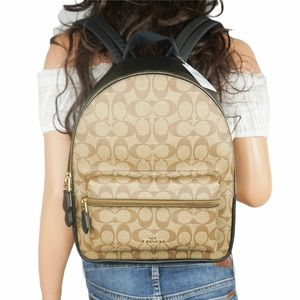 Coach Charlie Signature MD Backpack Khaki Black